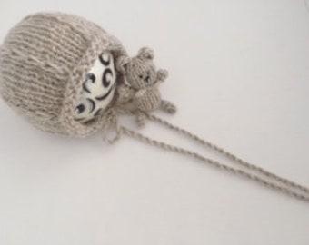 Knitting/crochet PATTERN - Newborn size knit Tear drop bonnet and bear - Instant Download PDF - Photography Prop for newborn size set