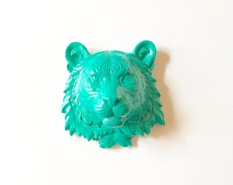 TEAL, Small Faux Taxidermy Tiger Head Wall Mount, Tiger Head, Mini Animal Head, Small Faux Animal Head,