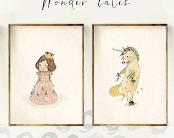 Princess and Unicorn - Sets & Collections - Art - Holli - Nursery Wall Art - Nursery Decor - Childrens Art - Kids Wall Art - Nursery Art