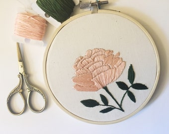 Peony Wall Art, Mothers Day Gift, Embroidery Hoop Art, Gift For Mom, Bridesmaid Gift, Pink Flower Petals, Pink Home Decor, Nursery Decor