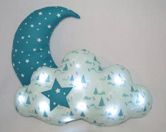 Duo: Moon and cushion babies, children, led lamp night light, cloud blue fabric star, mountain, winter, birthday gift!