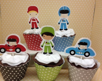 Racecar Party Cupcake Topper Decorations - Set of 10