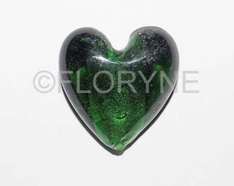 Pearl Heart, glass, green, Italian Murano Style