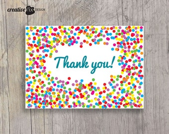 Confetti Thank You card, printable thank you, rainbow thank you, colorful modern Birthday thank you note. Instant download card shower