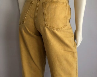 Vintage Women's 80's Rio Jeans, High Waisted, Golden Yellow, Colored Denim (L)