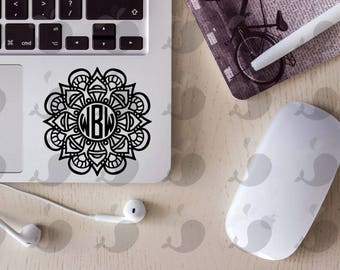 Mandala Monogram Vinyl Decal, Monogram Decal