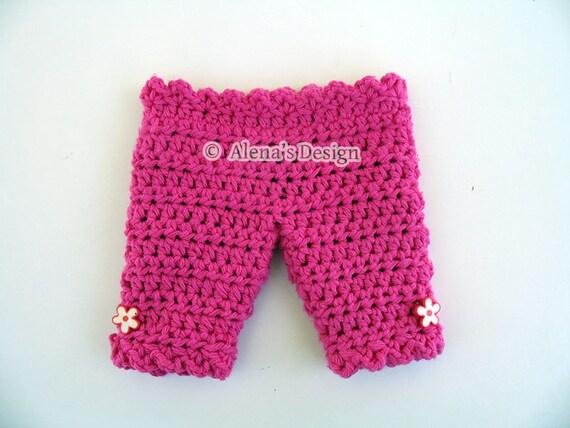Crochet Pattern 133 - Crochet Pants Pattern for 18 in Doll - Crochet Patterns - Doll Capris for American Doll 18 in Dolls Outfit - Capri