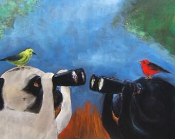 "Pug Art Print of an original oil painting - ""Birdwatchers"" - 8 x 10 - Dog Art -black pug-fawn pug"