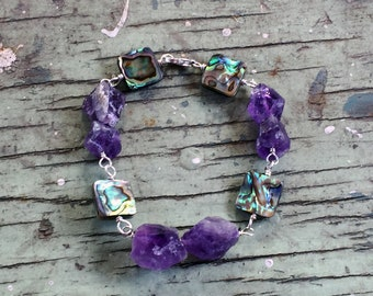 Raw Amethyst and Abalone Bracelet