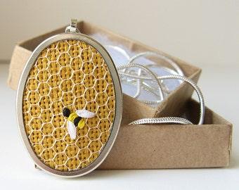 Bee necklace, Embroidered jewelry, Honeybee necklace, Bumblebee necklace, Silk ribbon embroidery, Oval bee pendant