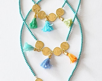 Tassels and Charms and Aqua Blue Gemstone Beads Necklace - Under 50