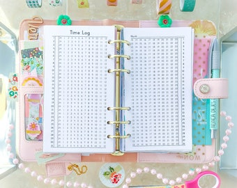 Time Log Personal Size Inserts Filofax Personal Inserts Time Habit Trackers Time Ladder Printable Planner 3.7 x 6.7 Instant Download