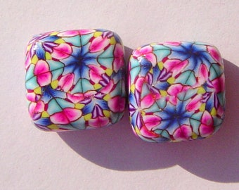 Bursts Square Handmade Artisan Polymer Clay Bead Pair