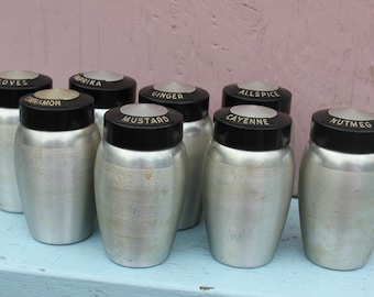 Vintage Set of Spun Aluminum Spice Set, 8 total, Kromax