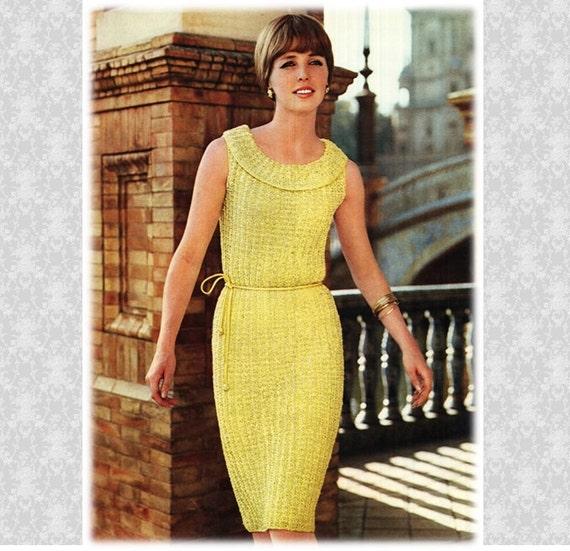 Dress Pattern Vintage 60s Knitted Dress Pattern Bridesmaid Dress