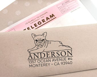Custom Address Stamp - French Bulldog /Frenchie Return Address Stamp, Holiday Gift, Stocking Stuffer, Wedding Gift, Self Inking Rubber Stamp