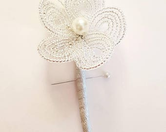 Bead flower button hole boutonniere , any colour