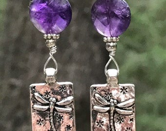 Dragonfly earrings, dragonfly jewelry, Silver dragonfly, amethyst, gemstone, unique dragonfly earrings, wire wrapped earrings