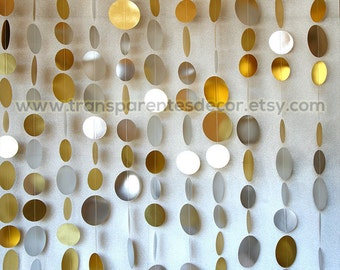 Christmas backdrop, Gold Silver garland set, 10 strand's set garland, Christmas decorations, Gold Silver Paper garland, KMCS-0400