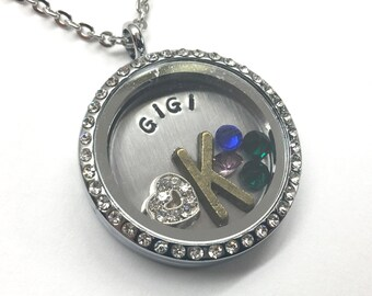 GIGI - Rhinestone Edge or Custom Floating Memory Charm Locket - Custom Hand Stamped Gift for Gigi