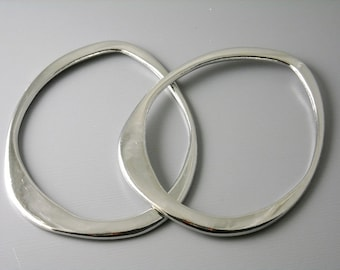 LINK-AS-62 - Antique Silver Plated Asymmetrical Links, 62mm, 2 pcs