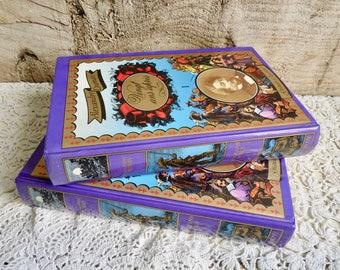 Vintage PAIR of BOOKS, Purple/ Blue /Gold Books, Alexandre Dumas - Vingt Ans Après, 1985.