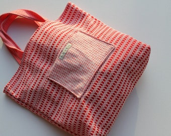 Retro Double Knit Tote Bags, red with floral lining