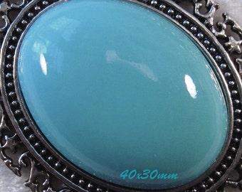 40x30mm - Turquoise Blue - Acrylic Cabochon - 1 pc : sku 03.10.13.8 - Q11