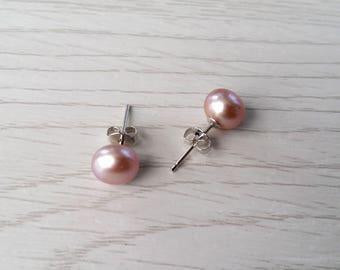 Cultured pearl earrings, ear studs, mauve pearl earrings, sterling silver pearl stud earrings, real pearl jewelry, pearl bridal earrings