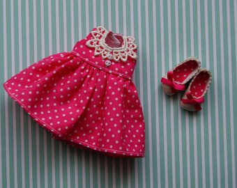 Pink dots dress and shoes for dolls RealFee. Clothes for dolls BJD