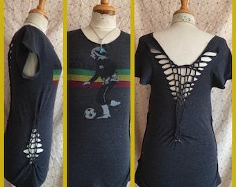 Futbol Soccer - UPCycled - T Shirt -  Feminine Flattering - WildHeart Back - HANDMADE eco Fashion music festival iRie