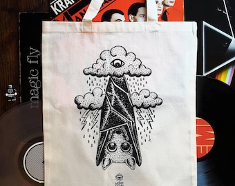 "Tote bag in organic cotton with my illustration ""My Bat Hates Rain"" tote bag, bat, rain, tattoo, bag of course, books"