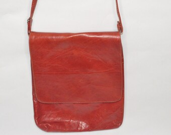 Vintage Estate Orangish Red Leather Purse