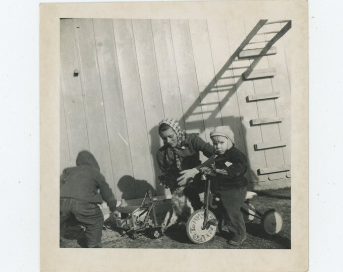 Vintage Snapshot Photo: Tommy on his Tricycle, c1950s [86688]