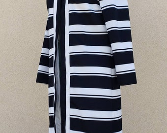 Vintage 1980s Striped Duster Cardigan by Toni Todd - Long Jacket - Size Medium