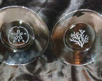 Etched Clear Glass Small Plates
