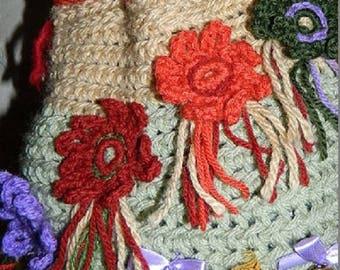 Bohemian style bag flowery charming, feminine bag. unique piece.