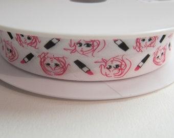 Rose Lipstick / white folded 27 mm 13.5 mm