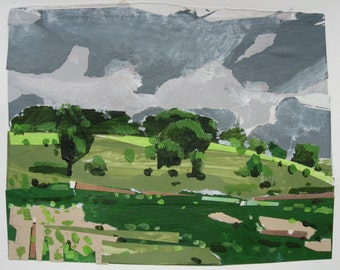 Summer Hill, Small Landscape Collage Painting on Paper, Original