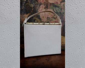 Vintage White Ostrich Leather Purse / 1950s Handbag / Black French Silk