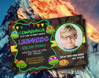 Teenage Mutant Ninja Turtle Birthday Invitation, TMNT Birthday Invitations, TMNT Birthday Invitations With Photo, Ninja Turtle Invitation