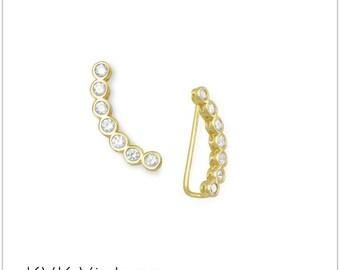 14 Karat Gold Plated Bezel CZ Ear Climbers -  Ear Climbers - Ear Climber Earrings