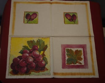 """fruits and vegetables """"Grapes"""" themed paper napkin"""