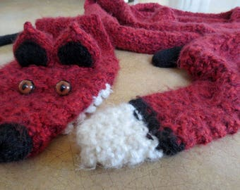 Creepy Cute Knit Red Fox Scarf With Taxidermy Eyes - Extra Long