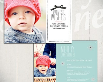 Christmas Card Template: Merry Little Christmas C - 5x7 Holiday Card Template for Photographers