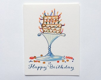 Happy Birthday Card illustrated with whimsical cake and candles on a silver platter