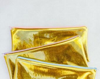 Gold Glitter Vinyl Zipper Pouch/Cosmetic Bag/Toiletry Bag