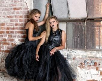 Womens tulle skirt tea length black tutu, gorhic wedding tutu, tutu, tutu,halloween skirt, costume dress, prom dress, tea length black tutu