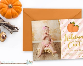 Pumpkin Birthday Invitation, Pink and Gold Birthday Invitation, Fall Birthday Invitation, First Pumpkin Birthday Invitation, Pumpkins