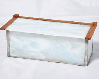 White Swirly glass Box with Natural edge top and Leopard wood  surround